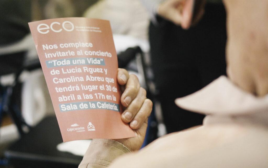 Cartel de invitación al concierto final de ECO. Música y comunidad en Residencias de Mayores. Residencia de Mayores de Ofra, 2019. Fotografía de Iván Delgado (Nevus Visual).