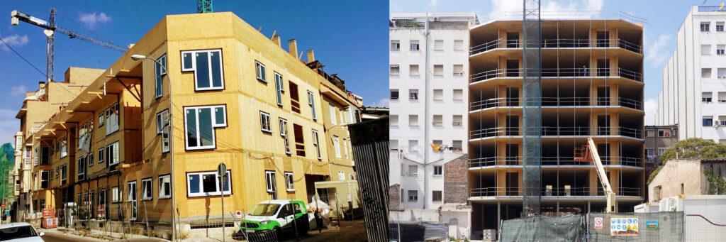 Estructuras de madera proceso de construcción Entrepatios (Madrid) y La Borda (Barcelona)